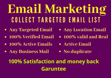 Find and provide niche specific email list of 5000 email for marketing