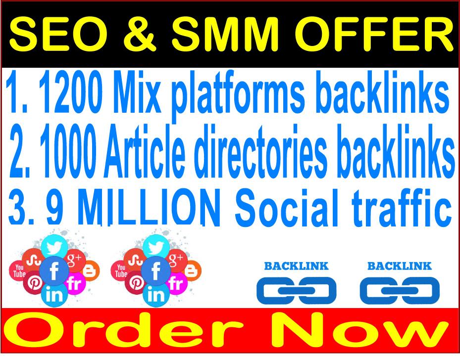 Superstar SEO offer-1200 Mix platforms - 1000 Article directories & 9 Million Social traffic
