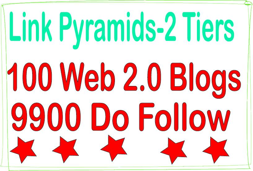 Boost SEO Pyramids - 9900 Do-follow & 100 Web 2.0 blogs Tiered Backlinks For SEO