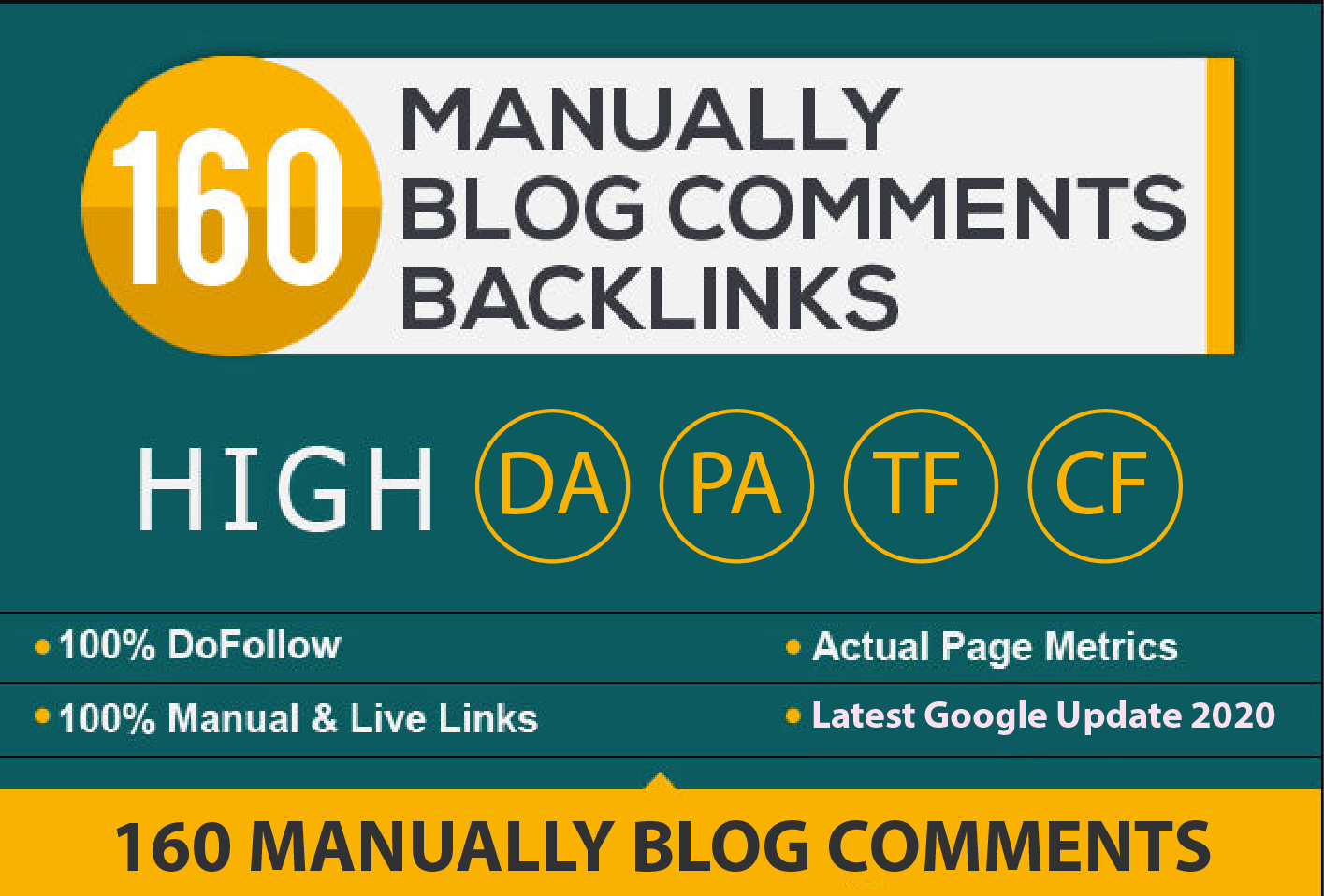 160 Manually Blog Comments High DA/PA,  Dofollow Backlinks