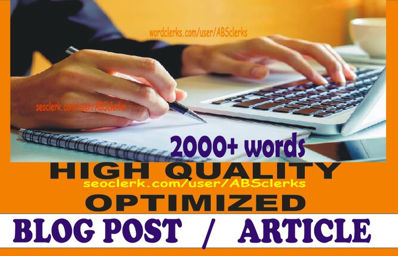 Write 2000+ Words High Quality ARTICLE,  BLOGs writing or WEBSITE content writing on any subject