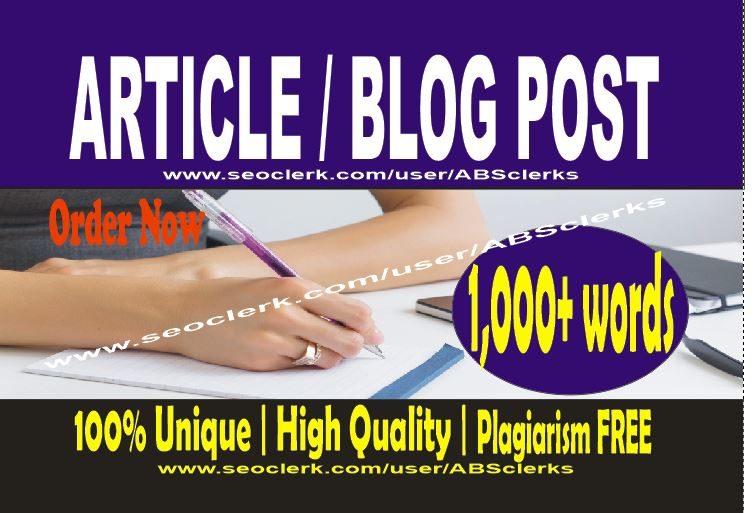 Write 1000 + words ARTICLES or BLOG POST - SEOptimized High Quality content writing