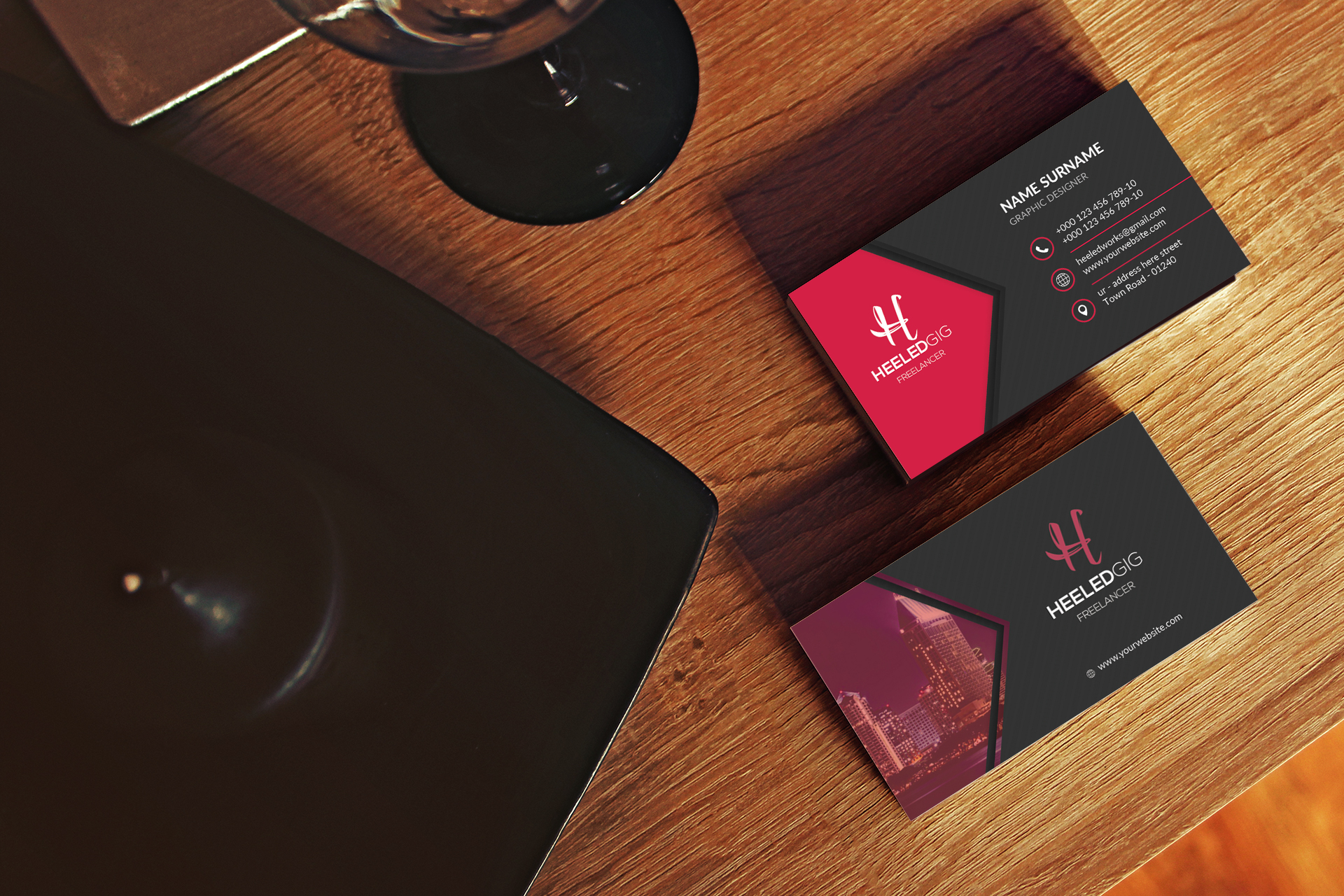 3 different 2 sided business cards designs + 3d mockup whith in 24hrs