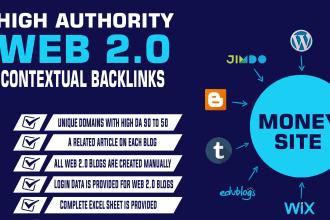 give 20 high da80 web 2.0 backlink manually dofollow