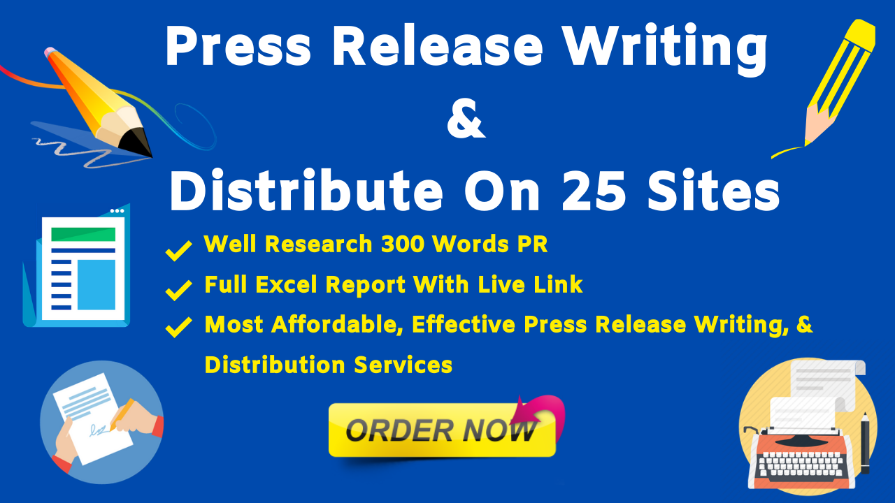 Killer press release writing & distribution on 25 sites in 24 hours