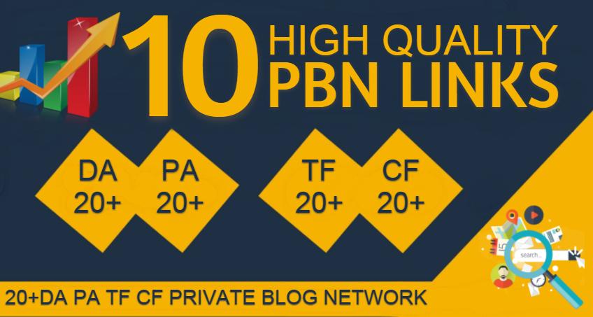 Do 10 pbn backlinks 20+ tf cf da pa private blog network