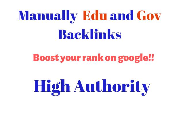 Manually 15 Edu and Gov High Authority Backlinks