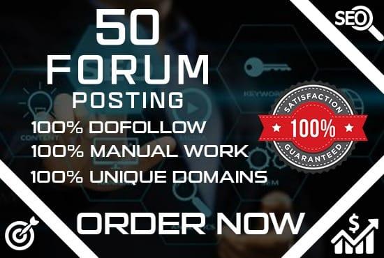Provide 50 forum posting backlinks on high DA PA