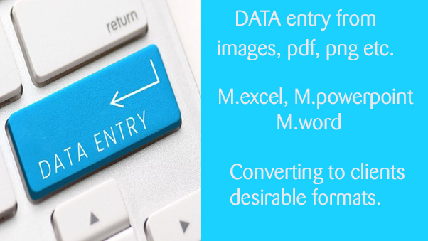 DATA entry from any source to M. excel. Conversion to...