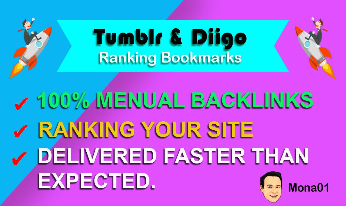 HQ 80 Diigo & 35 Tumblr Bookmarks SEO Real Traffic 100-PERCENT Manual Backlinks Site