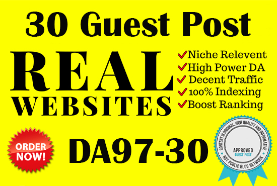 I will write and publish 30 guest post high domain authority site