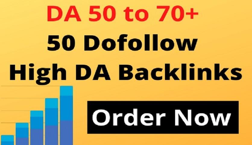 Powerful 50 to 200 Dofollow High DA Backlinks Website Off Page SEO Service Outreach