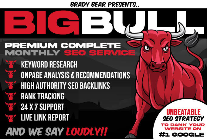 Big Bull Premium Complete Monthly SEO Service to Explode the Google Ranking