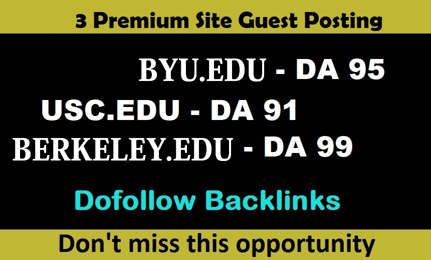 Write 3X EDU Guest Posts On DA60 - DA94 Website