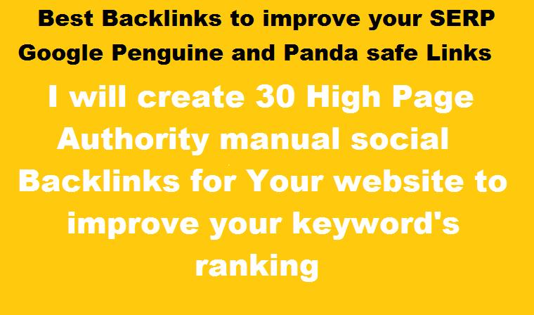Create 30 High authority Profile Backlinks