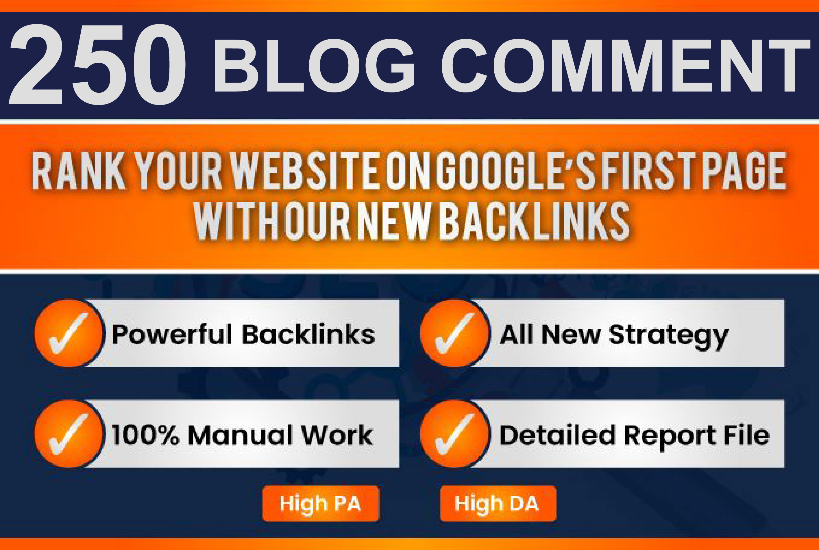 I will Build Manually 250 Seo Blog Comments Dofollow Link On High Da Pa