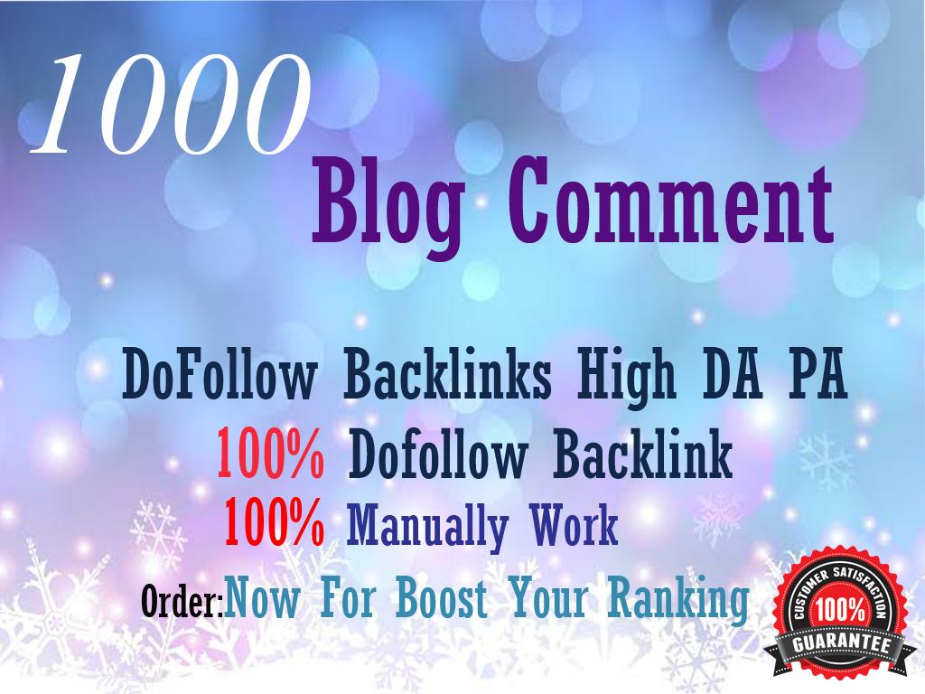 I will Manually Do 1000 Manual Comments dofollow backlinks DA