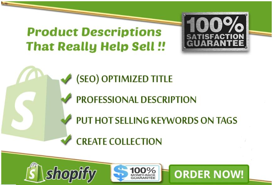 Edit shopify 60 product description,  tags,  title optimization and Basic Seo