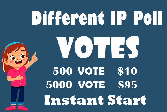 Different IP 500+ Votes Any Online Voting Contest poll votes