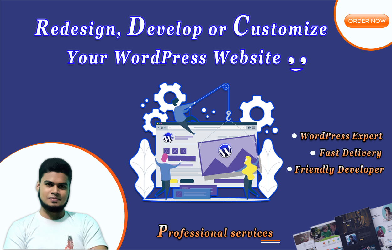 Redesign,  develop or customize wordpress website by any theme