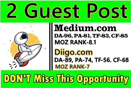 Write and Publish 2 Guest Posts on Medium & Diigo, Reddit DA 90 High Authority Sites
