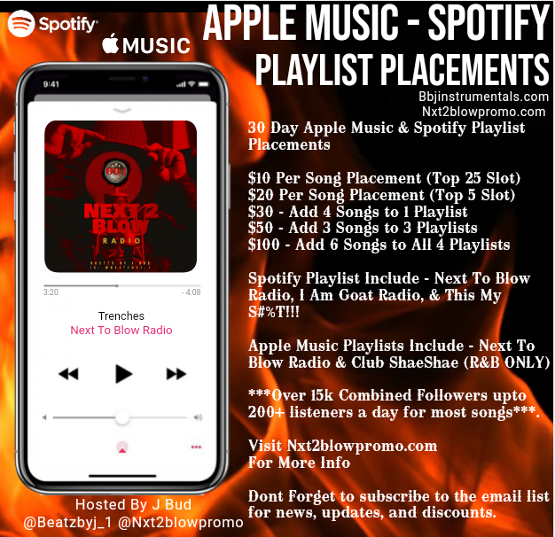 Playlist Placements Add 3 songs to 3 active playlist boost streams organically
