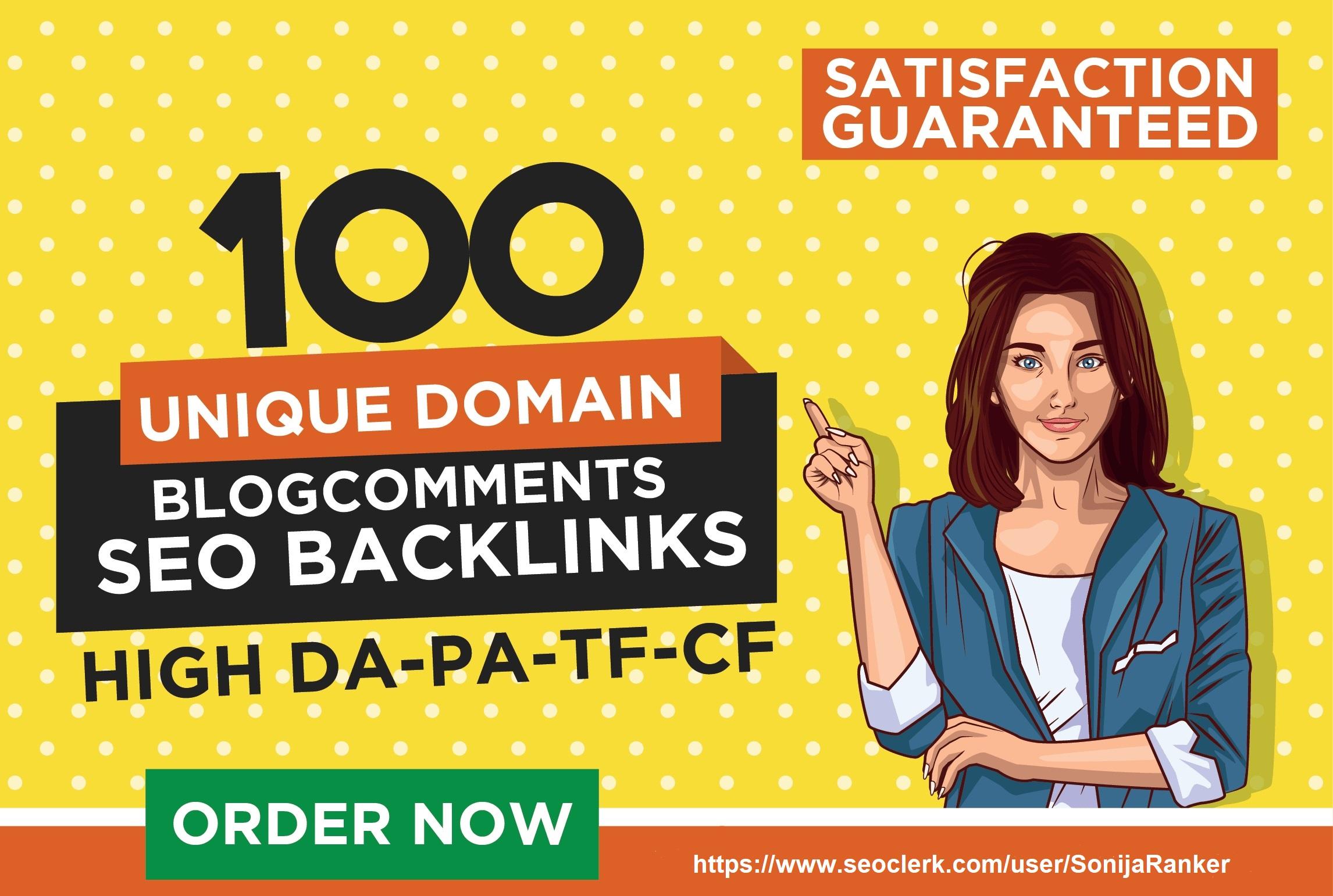I Will Provide 100 Unique Domain Dofollow Blog Comments High Quality Backlinks DA20+