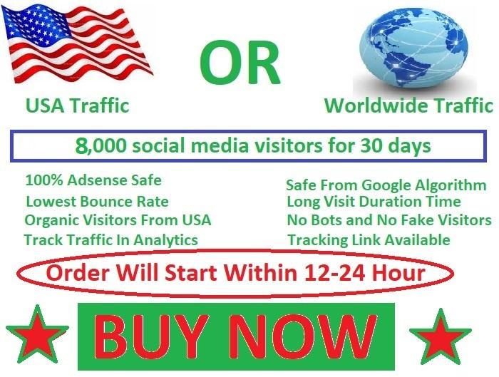 8000 social media visitors guarantee 100 for 10 days