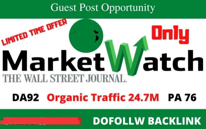 I will publish guest post on marketwatch da92 with dofolow links press release