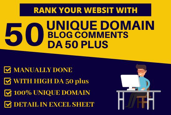 Do 50 Unique Domain Blogcomments with DA 50 Plus