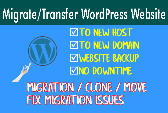 I will move / transfer / migrate yourWordpress site to a new host/domain.