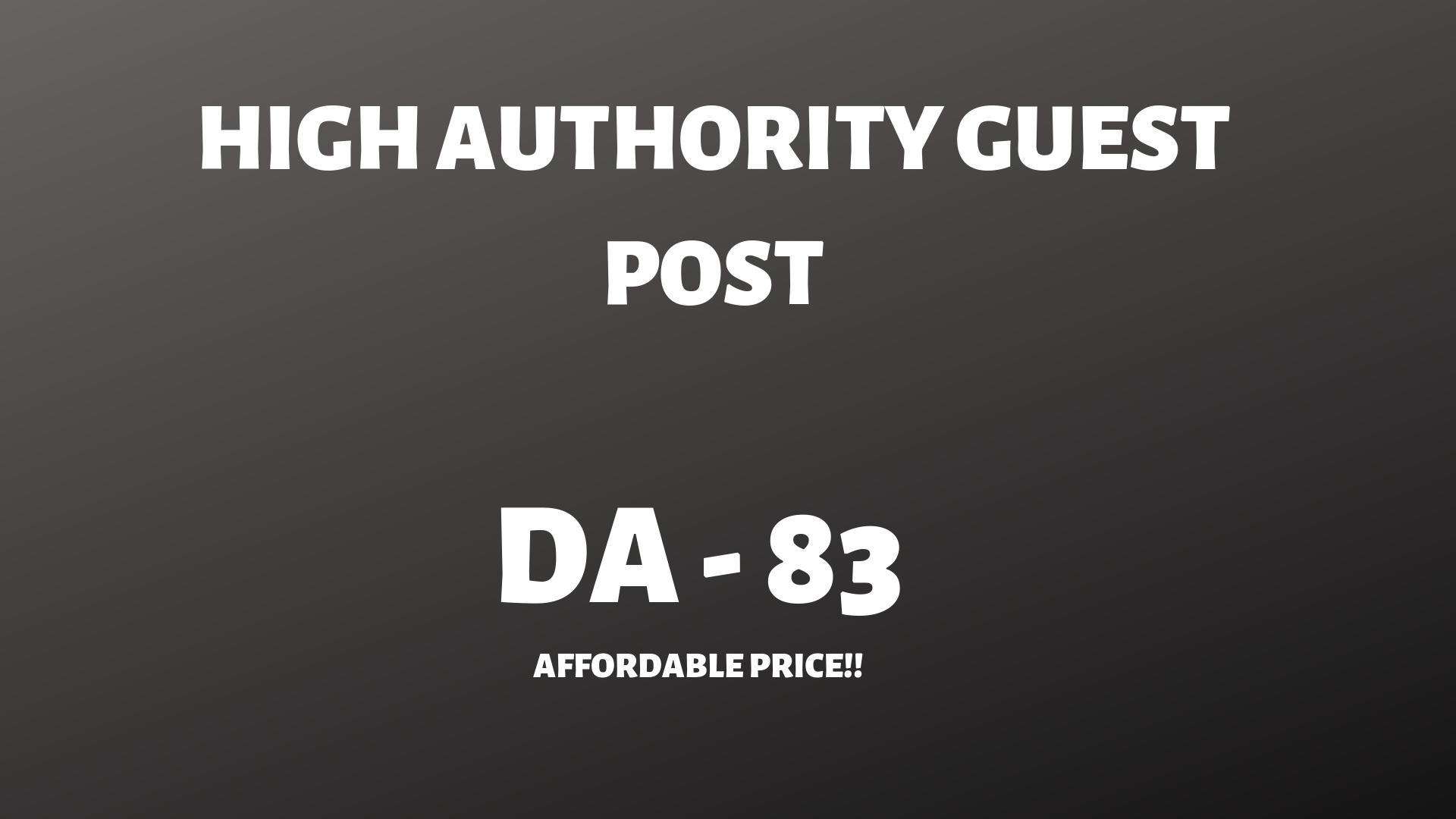 High authority Guestpost on DA -83 website with backlink.