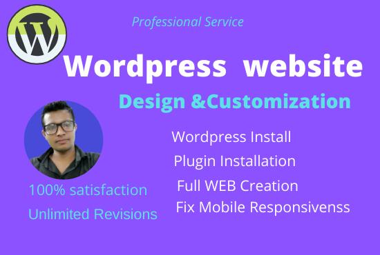 I can do customization any wordpress website & Design
