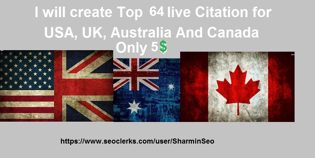 create top 64 live Local SEO Citation for USA,  UK,  AU And Canada