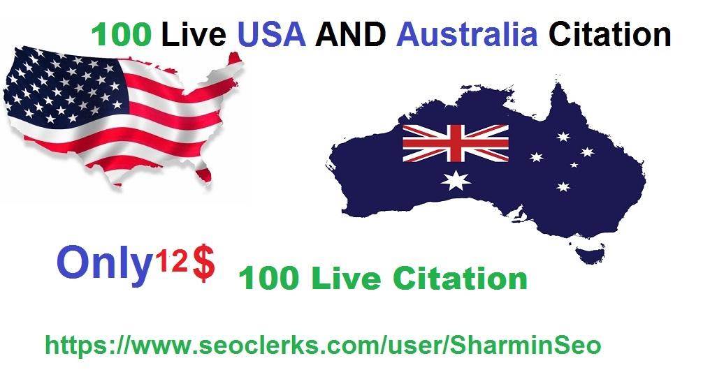create 100 live Local SEO Citation for USA and Australia