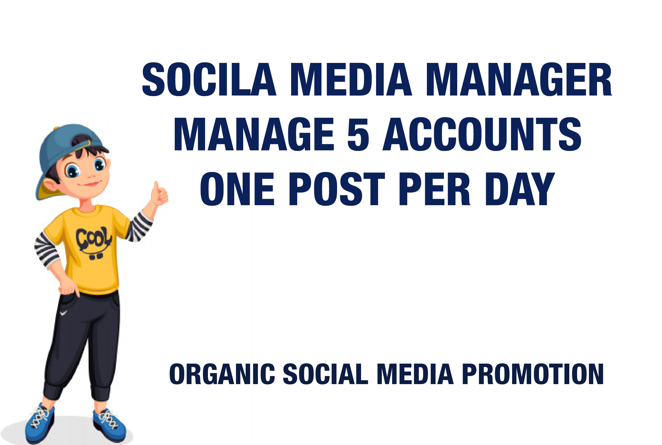 I will be your social media manager, Management of 5 social media Platform Monthly