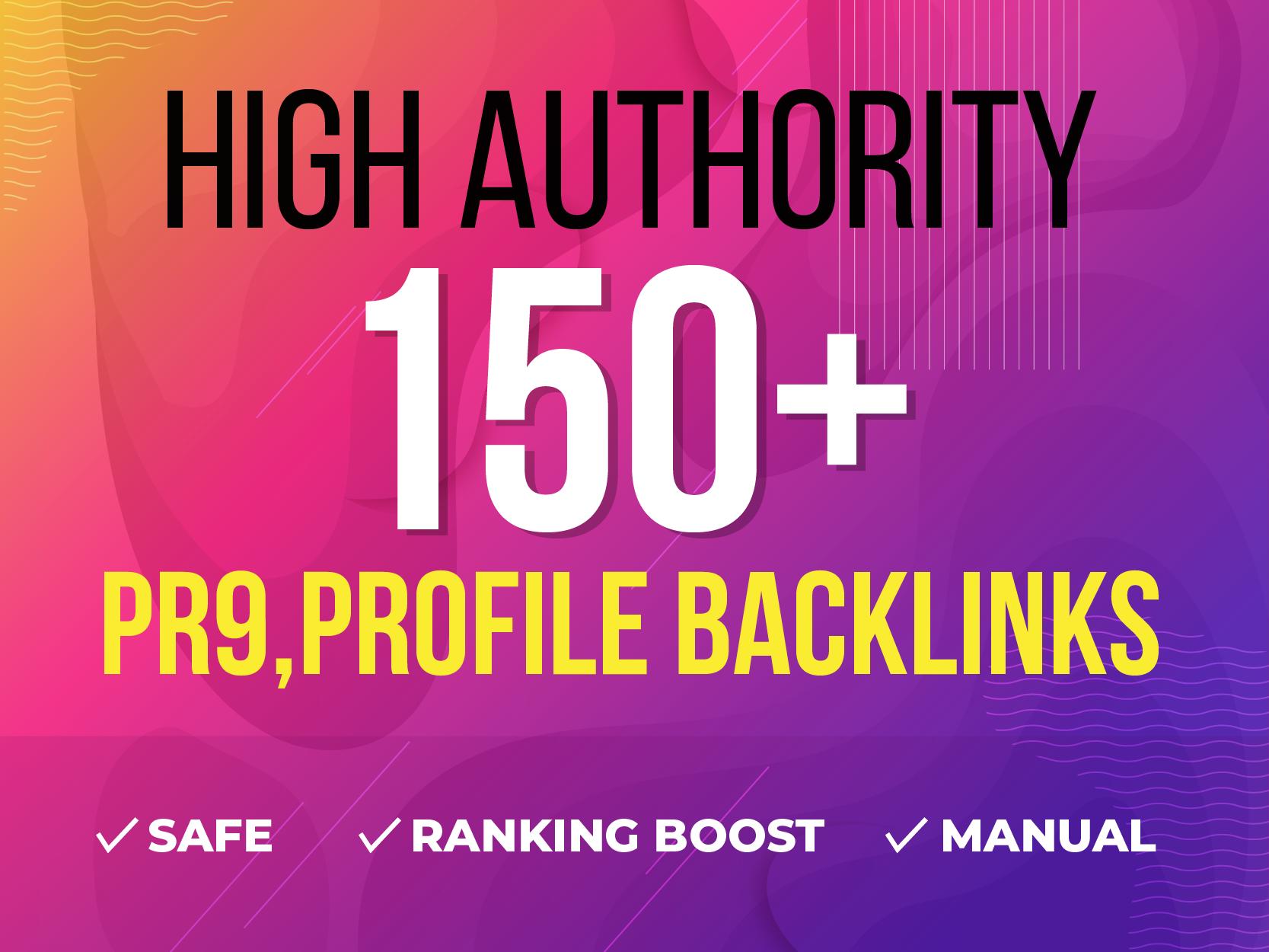 Manually 150+ High Authority PR9,  Profile and SEO Backlinks