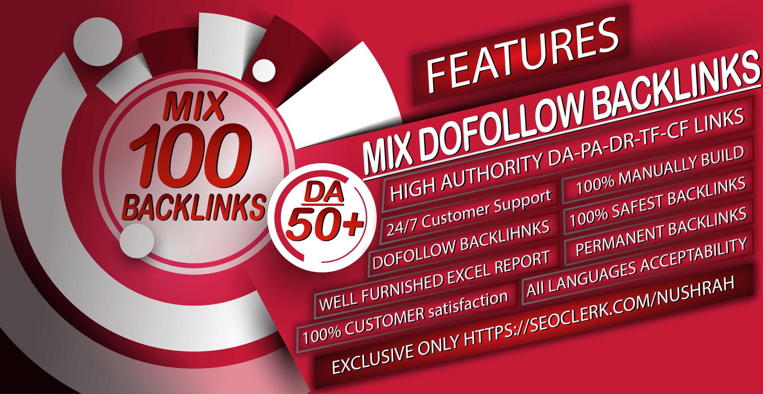 100 Seo Mix Backlinks with 50+ DA to boost your keyword and website Also