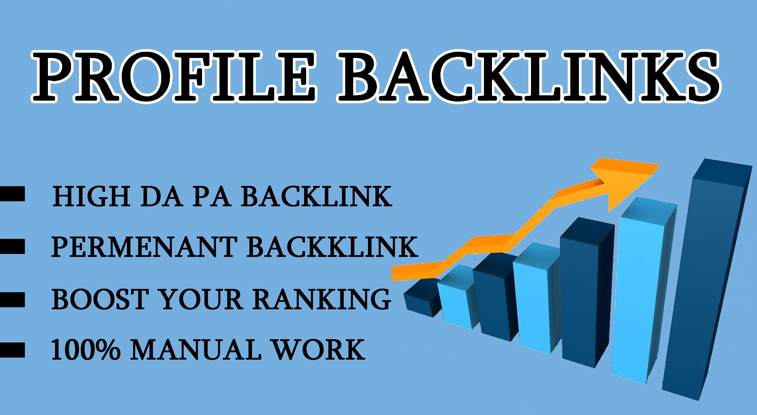 I will provide 30 profile Backlinks on High DA PA