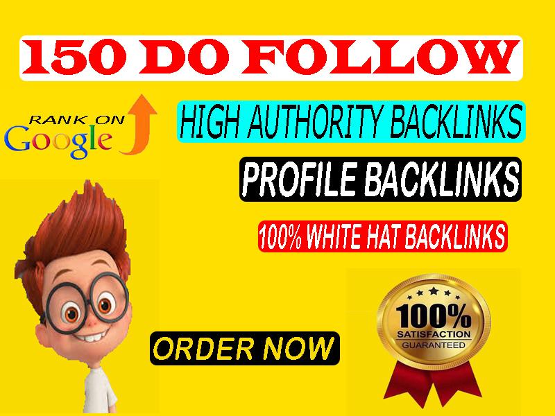 150 high authority do follow profile backlinks manually created