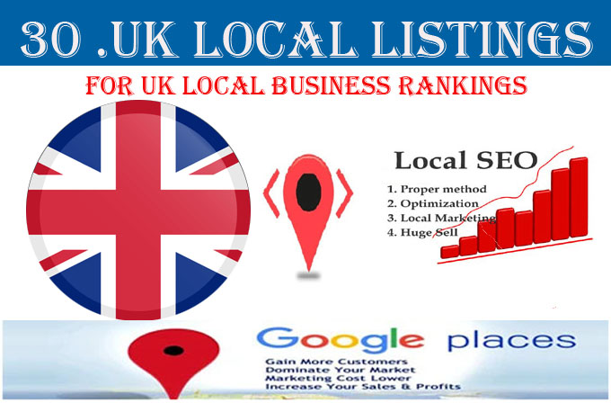 I will do 30 UK local listings only for UK business