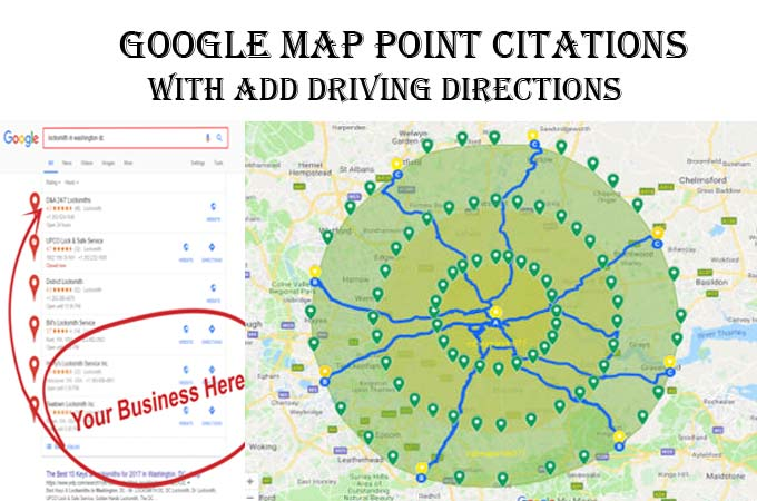 I will do 50+ Google map point citations with driving directions