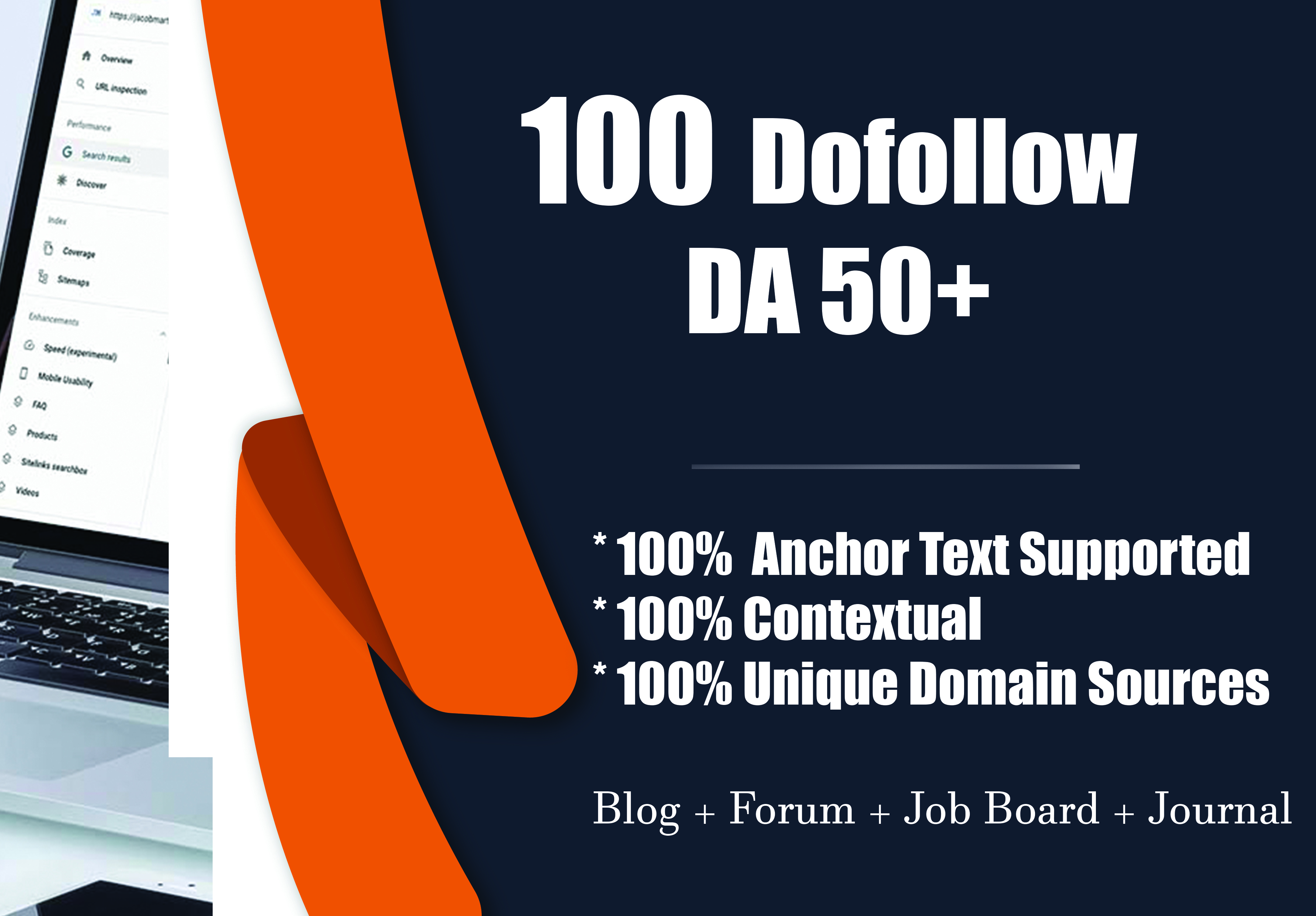 100 Dofollow Backlinks DA 50+ Manually Created
