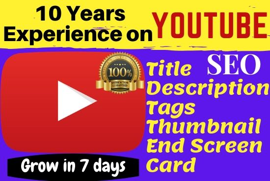 I will create and manage Youtube growth, video SEO,  Tag,  End screen