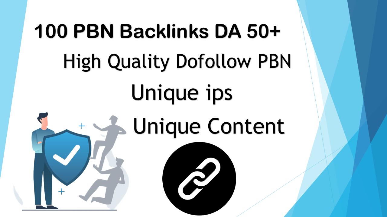 100 PBN Backlinks on DA50 to 60 websites