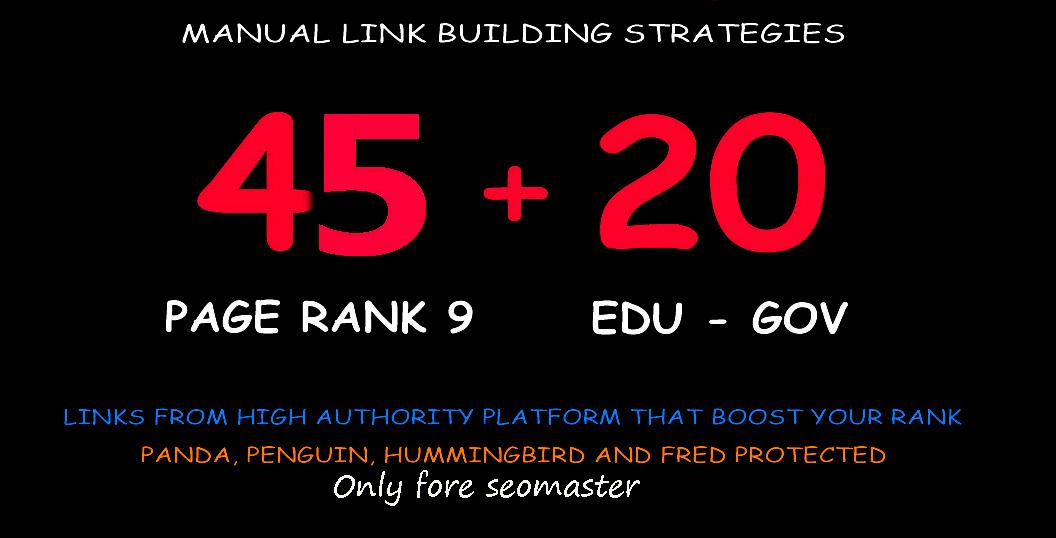 45 Pr9 + 20 Edu - Gov High Pr SEO Authority Backlinks
