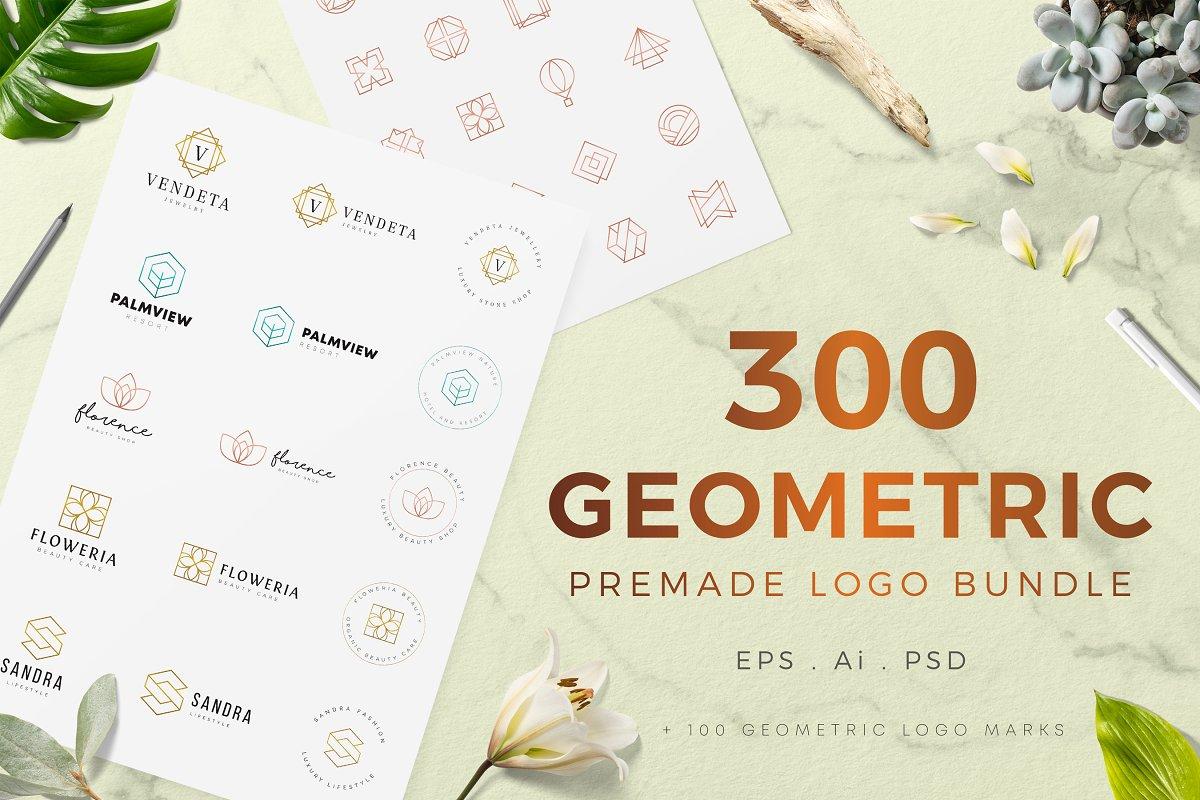 300 Geometric Premade Logo Bundle