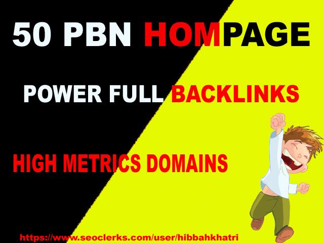 50 High PA/DA TF/CF Homepage PBN Backlinks ranking your website on DA25