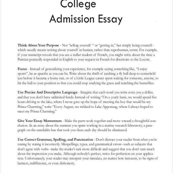 Create an excellent college admission essay, letter of intent or personal statement
