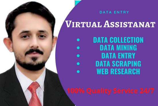 Be an ideal virtual assistant,  data entry,  web research,  copy paste,  data mining